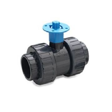 PVC-U Ball Valve D/U with Actuator Adaptor BSP EPDM - BSP Thread